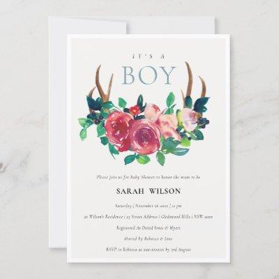 Floral Stag Antlers It's a Boy Baby Shower Invite