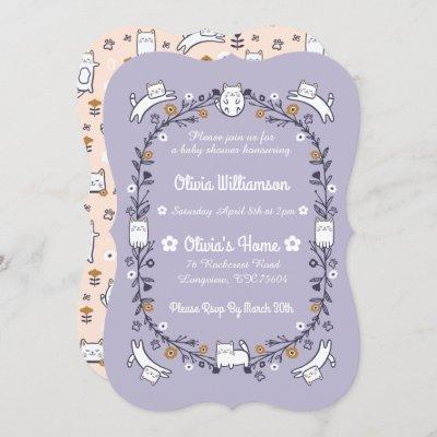 Floral Sweet Little kitty Kitten Baby Shower Invitation