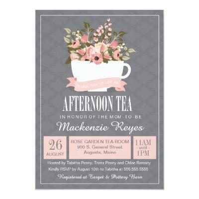 High tea baby shower invitation baby shower invitations baby floral teacup afternoon tea baby or bridal shower invitations filmwisefo