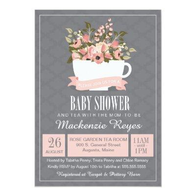 Floral Teacup , Tea Party Invitations