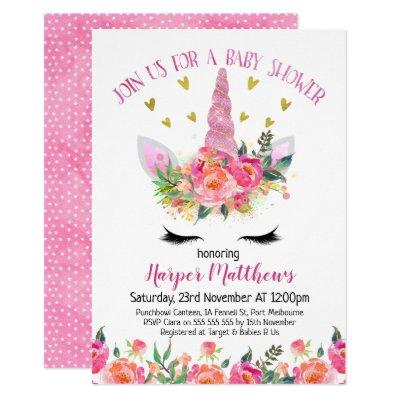 Floral Unicorn Baby Shower Invitations