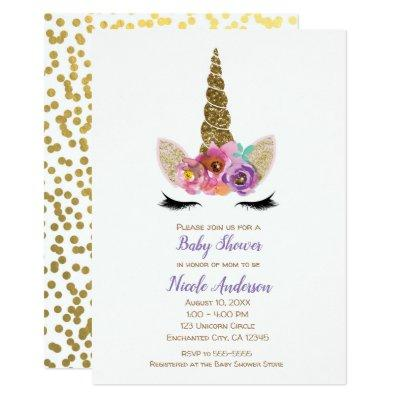 Floral Unicorn Horn Gold Confetti Baby Shower Invitations