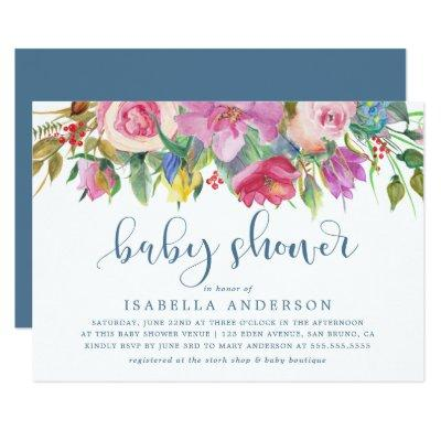 Floral Watercolor & Baby Shower Script on Blue Invitations