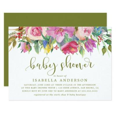 Floral Watercolor & Baby Shower Script on Green Invitations