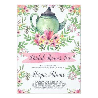 Floral Watercolor Teapot Bridal Shower Tea Invitations