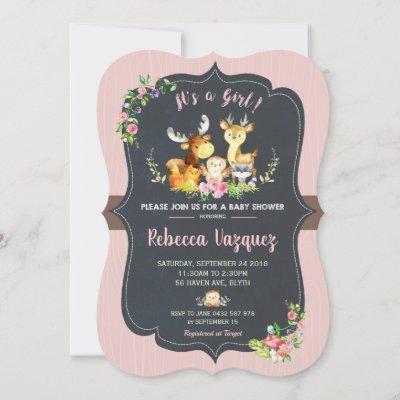 Floral Woodland Animal Baby Shower Invitation Girl