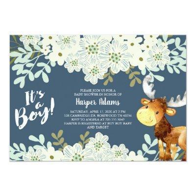 Floral Woodland Moose Boy Baby Shower Invitation