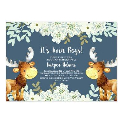 Floral Woodland Moose Twin Boys Baby Shower Invitations