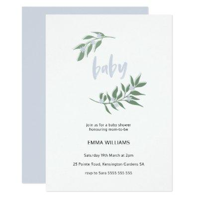 Floral Wreath Baby Shower Invitations | Blue
