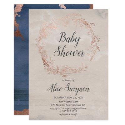 Floral Wreath | Beige Bohemian Baby Shower Invitation
