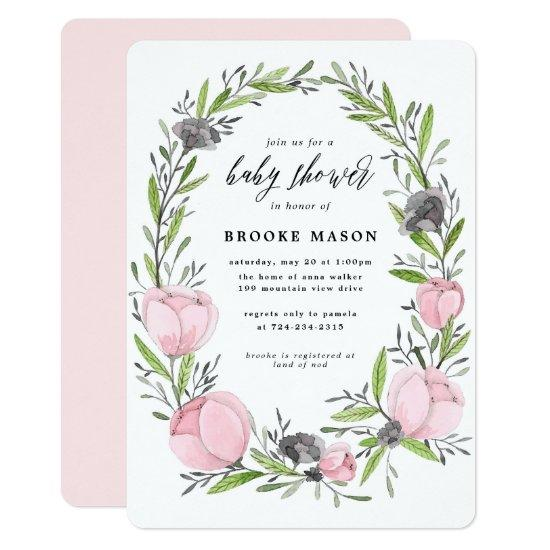 Floral Wreath Spring Baby Shower Invitations