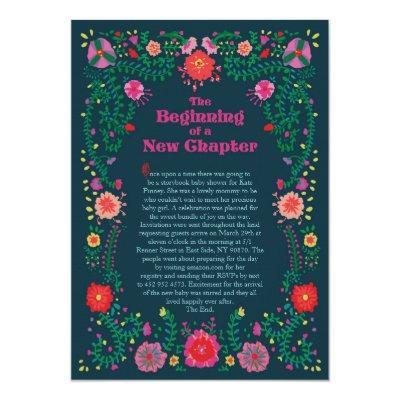 Flower Border Storybook Baby Shower Invitation