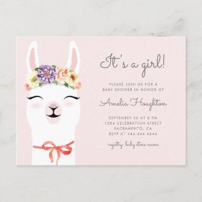 Flower Crown & Llama Girl Baby Shower Invitation Postcard