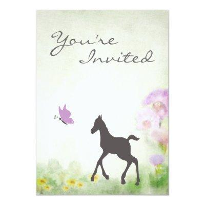 Foal and Butterfly Horse Invitations