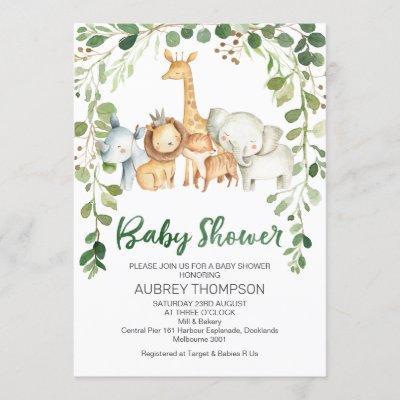 Foliage And Safari Animals Baby Shower Invitation