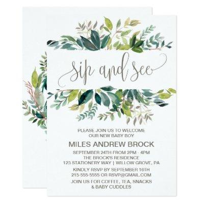Welcome baby boy invitations baby shower invitations baby shower foliage sip and see invitations filmwisefo