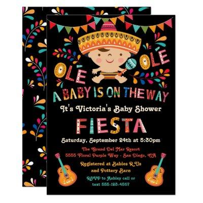 Folk Art Mexican Fiesta Baby Shower Invitations