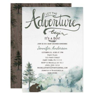 Forest Adventure Boy Country Bear Deer Baby Shower Invitations