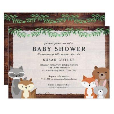 Forest Animals, Dark Wood Baby Shower Invitations