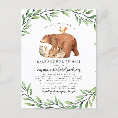 Forest Animals Gender Neutral Baby Shower By Mail Invitation Postcard
