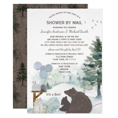Forest Boy Country Bear Deer Mail Baby Shower Invitation