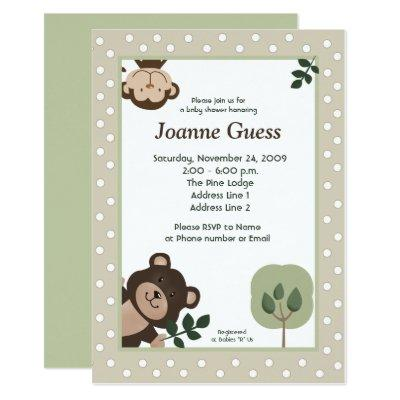 Forest Friends Bear & Monkey Baby Shower Invitation