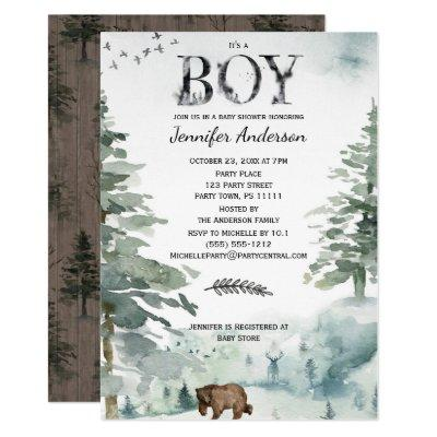 Forest Mountain Boy Country Bear Deer Baby Shower Invitations