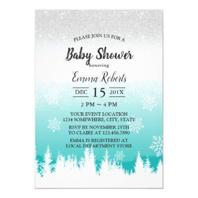 Forest Pine Trees Elegant Winter Baby Shower Invitation