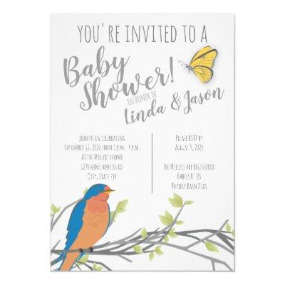 Forest Theme Baby Shower with Bluebird & Foliage Invitation