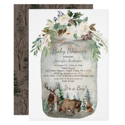Forest Woodland Animals Mason Jar Baby Shower Invitations