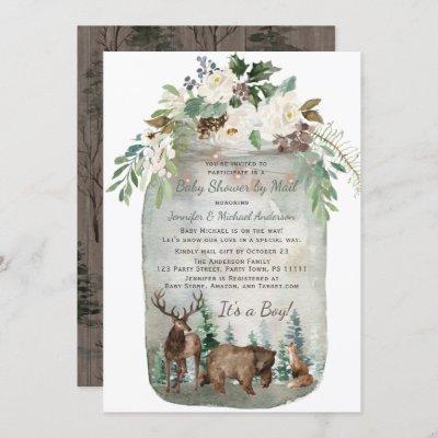 Forest Woodland Mason Jar Baby Shower By Mail Invitation