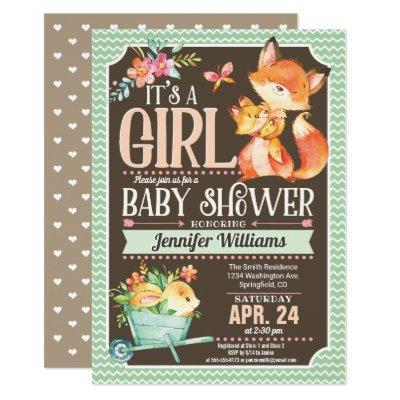 Fox Baby Shower Invitation, Woodland Girl Invitation