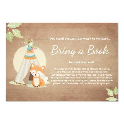 Fox Teepee Bring a book Invitations Woodland Baby Shower