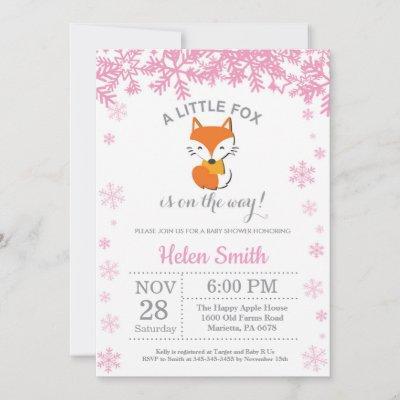 Fox Winter Pink Girl Baby Shower Snowflake Invitation