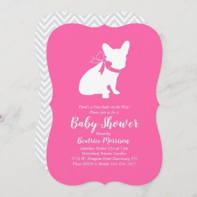 French Bulldog Baby Shower Frenchie Pink Girl Invitation