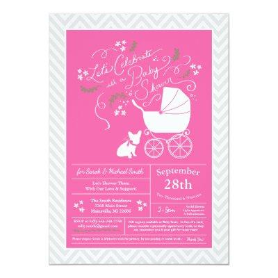 French Bulldog Baby Shower Frenchie Pink Girl Invitation
