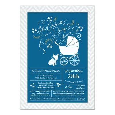 French Bulldog Baby Shower Frenchy Frenchie Blue Invitation