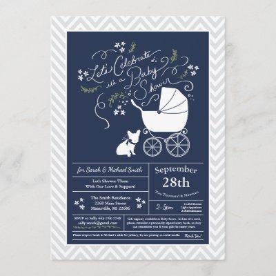 French Bulldog Baby Shower Invites
