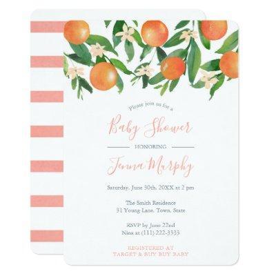 Fresh Citrus Oranges Modern Baby Shower for Girl Invitation