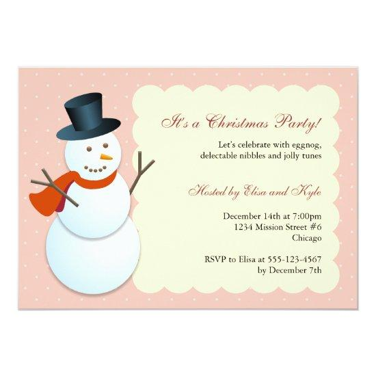 friendly snowman north pole pink christmas party invitations baby