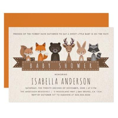 Friends of the Forest Woodland Animals Baby Shower Invitations