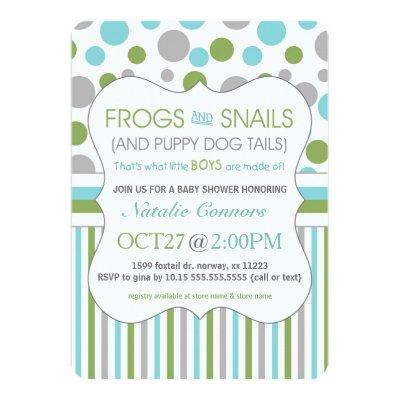 Frogs and Snails Boy Baby Shower Invites 3471