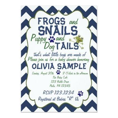 Frogs, Snails and Puppy Baby Shower Invitations