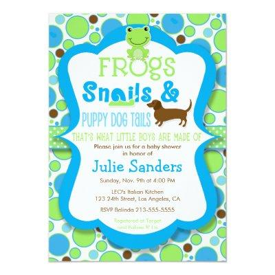 Frogs, Snails, & Puppy Dog Tails - Boy Baby Shower Invitation