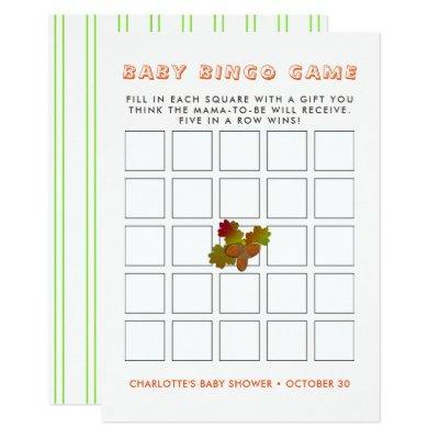 From Little Acorns Rustic Autumn Fall Baby Bingo Invitation