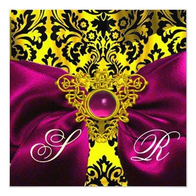 FUCHSIA RIBBON GOLD CELTIC HEART DAMASK MONOGRAM Invitations