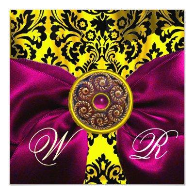 FUCHSIA RIBBON GOLD YELLOW BLACK DAMASK MONOGRAM INVITATION