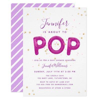 Fun Balloon Pretty Pink Purple Girl Baby Shower Invitations