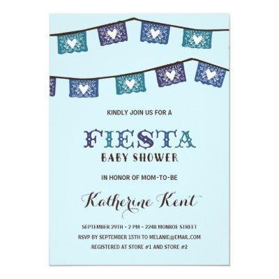 Fun Fiesta   Blue Boys Baby Shower Invitations