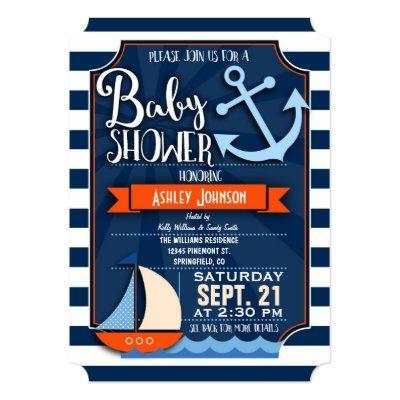 Fun, Navy, Orange, & White Nautical Invitations